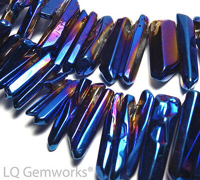 40.6cm Bleu Titane Quartz Finition Polie Lisse Point Perles