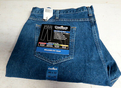 Nwt Mens Carhartt Denim Jeans Work Size 46 X 32 New Free Shipping Blue Relaxed