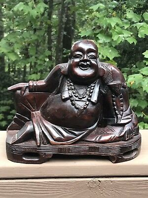 Vintage Solid Mahogany Hand Carved Chinese Laughing BUDDHA Statue - Good Luck