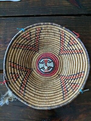 """VINTAGE 9"""" Indian NATIVE AMERICAN Coiled Basket Bowl made by the POMO Tribe"""