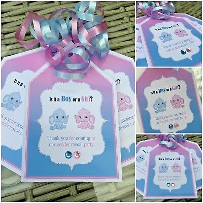 5 X GENDER REVEAL baby shower gift tags party bag tags personalised free LABELS