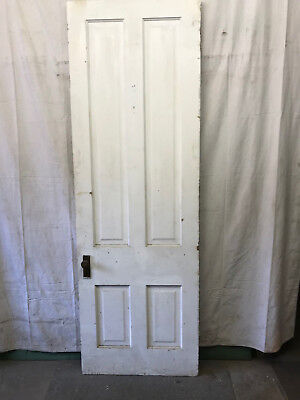 Tall 4 Panel Salvaged Interior Wood Door Architectural Vintage 32x96
