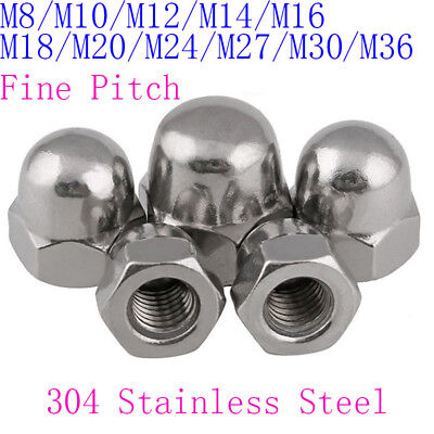 M8 M10 M12 To M36 Fine Pitch Hexagon Cap Nuts Hex Acorn Nuts 304 Stainless Steel