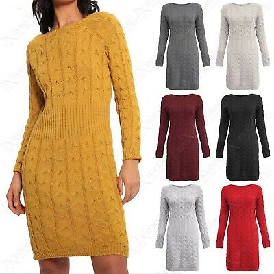 0cdc1725e20938 New Women Cable Rib Knit Jumper Dress Ladies Long Midi Warm Stretchy Sweater  Top