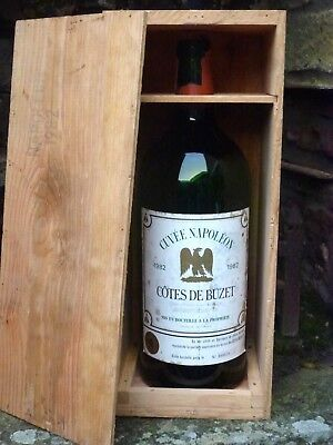 Empty Wine Bottle Jeroboam In Original Wooden Case Cotes De Buzet 1982