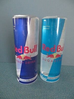 Red Bull Plastic Advertising Display Cans Energy Drink & Sugar Free - Lot of 2