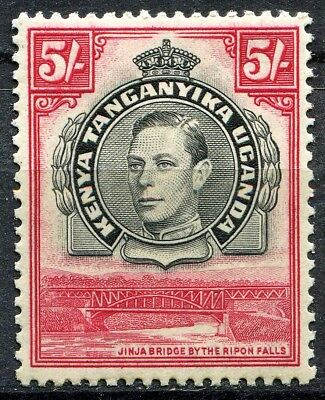KUT 1938 issue, SG 148, 5/- Black & Carmine, Perf 13.25, M/Hinged, Cat £150
