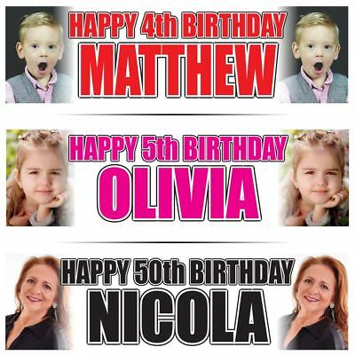 "Personalised Photo Birthday Banner x2 LARGE 36 ""x 11"" - Any Age, Any Name FADE"