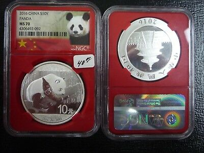 2016 China silver panda graded a perfect MS 70 by NGC red holder