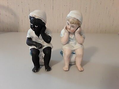 2 Antique Boys Black Americana Bisque Figurines on Chamber Pot