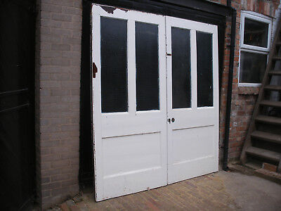 Pair of very large reclaimed Victorian glazed double doors. Unrestored.