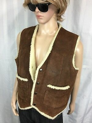 vintage 80's GATEWAY Collections suede leather sherpa western/biker/ranch vest L