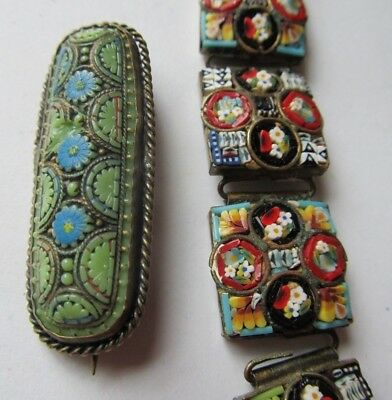 Lot of 2 Antique Vintage MICRO MOSAIC Bracelet BROOCH Italy AS FOUND