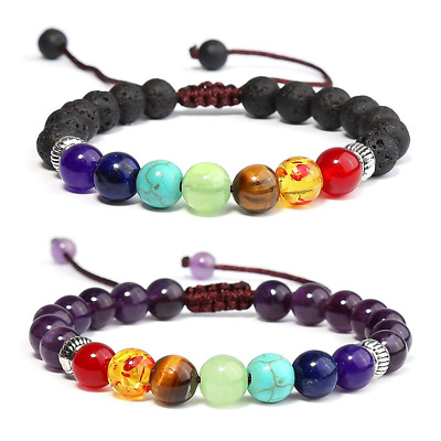 7 Chakras Healing Bracelet Amethyst Lava Stone Braided Rope Men Women US SHIP