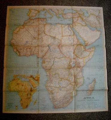 Vintage National Geographic Map Africa 1935