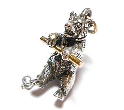 Beautiful Old Antique Victorian Silver & 9Ct Gold Bear Charm Pendant Fob (B8)