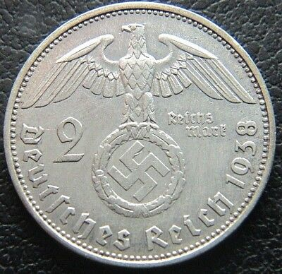 Wwii German 1938 - A 2 Reichsmark 3Rd Reich Silver Nazi Germany Coin (Wc2194)
