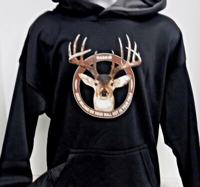 """Case IH Black Pullover """"Deer Belong On Your Wall Not In Your Field"""" Youth Hoodie"""