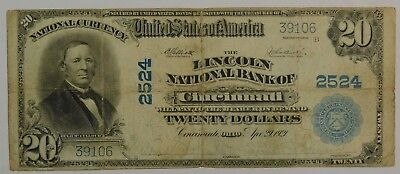 1902 $20 Dollar Bill Lincoln National Bank Of Cincinnati Note Check Pics
