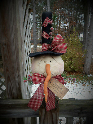 FoLk Art PrimiTive WinTer ChrisTmas SNOWMAN DOLL Tree Topper Cupboard DecoraTion