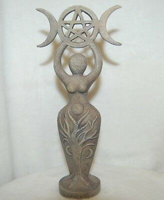 Spiral Goddess Statue With Triple Moon & Pentagram, Cold Cast Resin, Pagan Diety