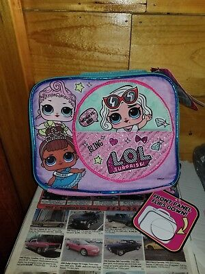 New Lol Surprise Lunch Box Bag ~ Zippered/insulated ~ Front Panel Flips Down