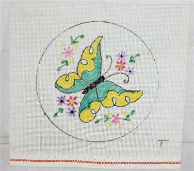 Unsigned Blue & Yellow Butterfly 2/ Multi Flowers Handpainted Needlepoint Canvas