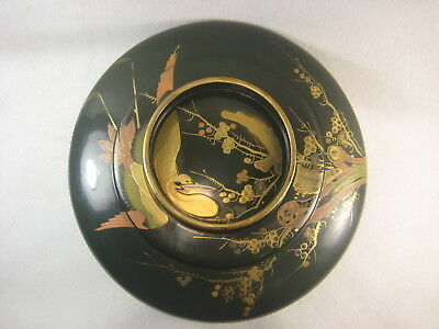 Antique Japanese 120 Year Old Gold Makie Green Lacquer Lidded Bowl Crane Plum
