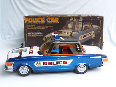 Red China ME 621 Mercedes Police Car Blech Auto Tin Toy 80er Jahre in Box 41cm