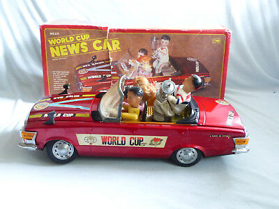 Red China ME 611 Mercedes World Cup News Car Blech Auto Tin Toy in Box 41cm