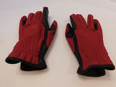 Kerrits  Ladies Black Leather & Red Pol Stretch Stretch Gloves Unlined Size Xl