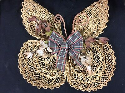 Vintage Hand Crafted Knotted Twine Butterfly Home Decor Wall Art