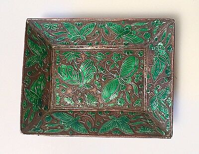 Antique Chinese Floral Enamel Pin Tray Copper Cloissone Green Butterfly Insects