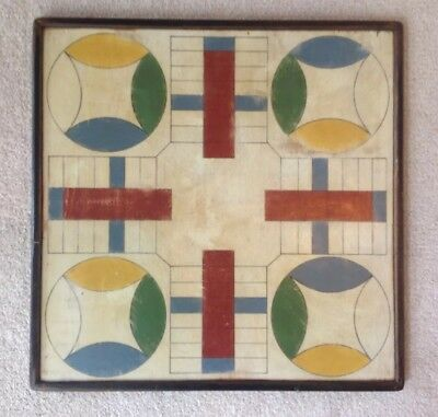 Vintage American Folk Art Gameboard Parcheesi Hand Crafted Painted Artist Signed