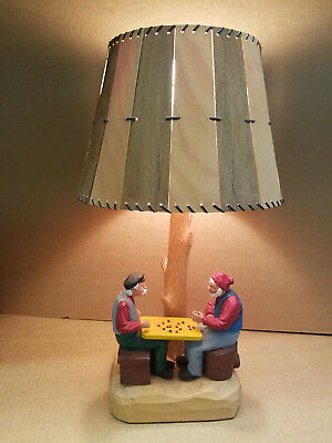 Vintage hand carved wood table lamp, 2 Checkers   Canadian folk - Rustic Unique