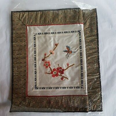 Vintage silk embroidered panel cherry blossom & butterfly with woven silk border