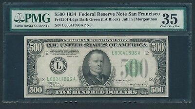 1934 $500 Five Hundred Dollar Bill Scarce San Francisco Currency Note PMG VF 35
