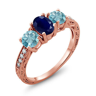 2.82 Ct Oval Blue Sapphire Blue Zircon 18K Rose Gold Plated Silver Ring