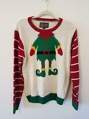 UGLY Christmas Sweater Brand Elf Long Sleeve Womens Size L