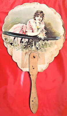 VINTAGE HAND FAN Early 1900's, A. Sundquist - Furniture Store, TOULON, IL (J367)