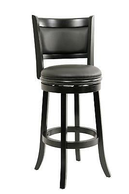 "Augusta Swivel Stool Black 19.5""D x 18""W x 43.5""H"