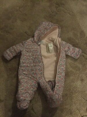 Marks and Spencer Baby Girl Floral Pink Pram Suit 3-6 months - BNWT