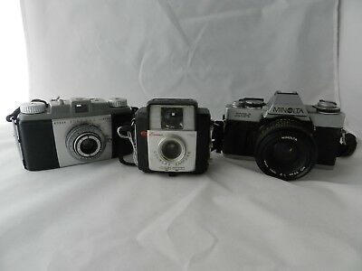 Lot of 3 Vintage Brownie Starlet Minolta XG1 Kodak Pony 135 Cameras