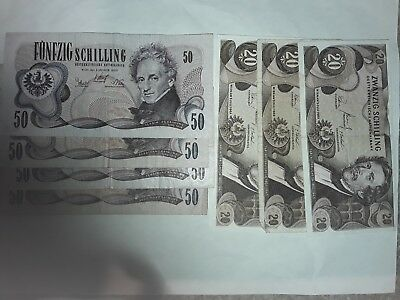 Lot Of 7 Austrian Banknotes, Total 260 Schillings