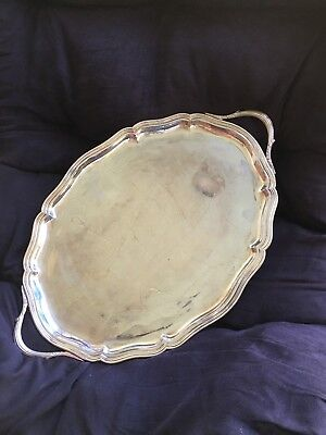 German .835 19th C. Silver Tray, Bruckmann & Sohne, 1129 grams