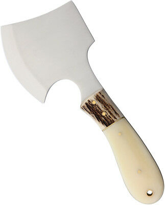 """Marbles 8"""" White Smooth Bone Stag Hatchet Axe Fixed Camping Ax  Mini Outdoor 826"""
