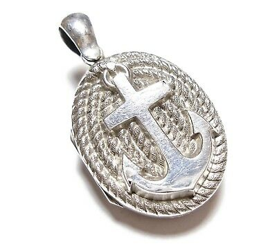 Beautiful Antique Victorian Or Edwardian Silver Anchor Design Photo Locket (B40)