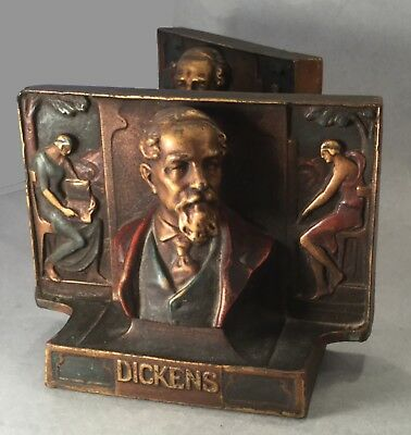 """Pair Of Antique Pompeian Bronze Bookends - """"charles Dickens"""" - C. 1918"""
