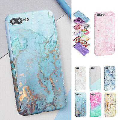 For iPhone X 6/7/8 Plus 360°Full Protective Marble Pattern Hard Back Case Cover