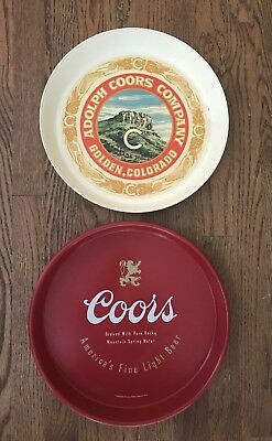 Set of two Adolph Coors Brewing Vintage Ropund Beer Trays Plastic Metal
